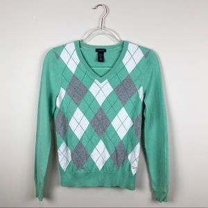 Izod Mint Green Argyle Vneck Sweater Cotton XS
